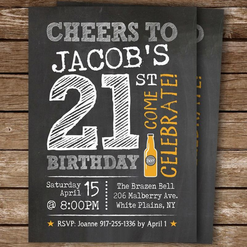 21st Birthday Invite For A Man Cheers And Beers 21st Birthday Invitations Birthday Invitations 21st Birthday