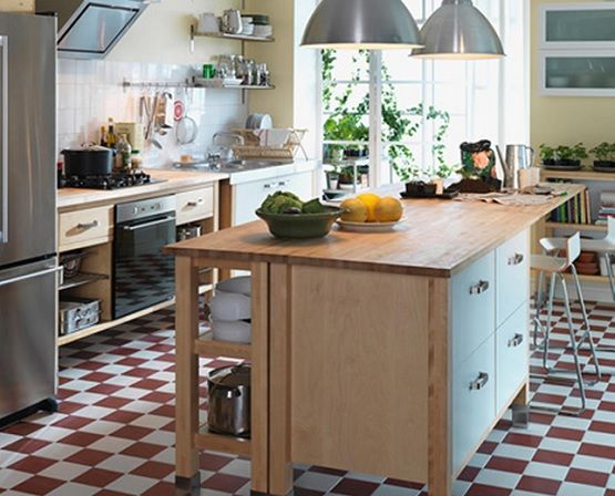 Country modern kitchen with linoleum kitchen flooring | Flooring ...