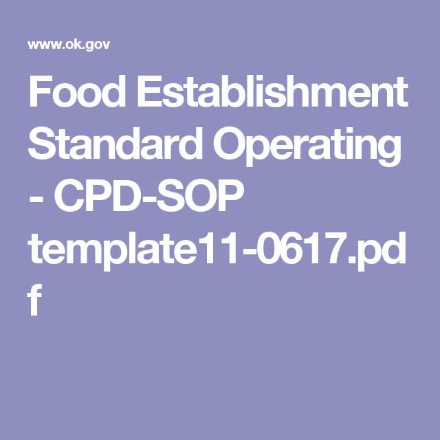 Food Establishment Standard Operating - CPD-SOP template11-0617 ...
