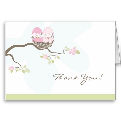 Twin Pink Baby Birds Thank You Card