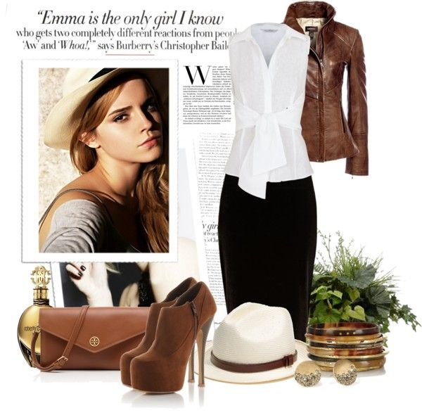 black skirt, white shirt, brown leather jacket
