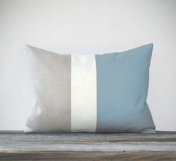 17 Best Images About Color Block On Pinterest: Baby Blue Color Block Pillow With Cream And Natural Linen
