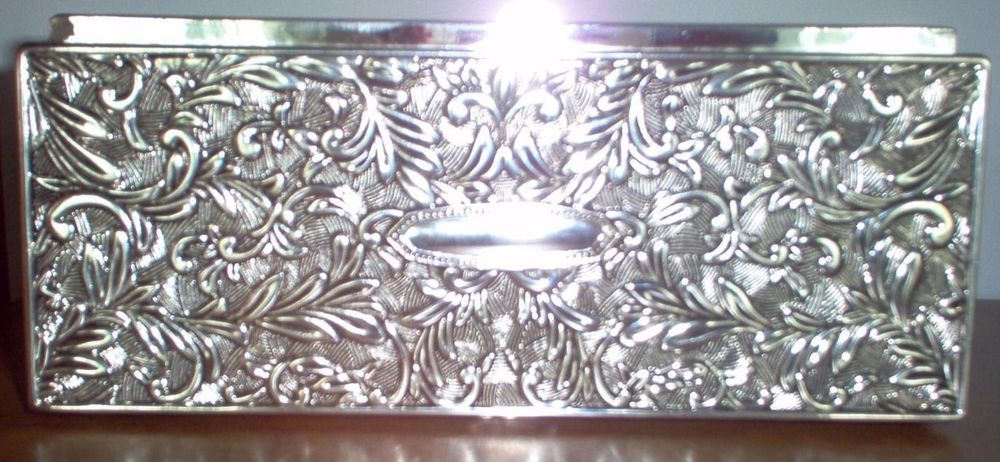 Vintage Godinger Silver Plated Rectangular Jewelry Box With Mirror 1992 Rectangular Jewelry Godinger Silver Jewelry Box