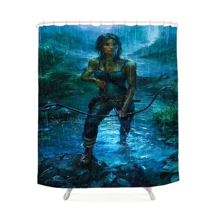 Lara Croft Tomb Raider Rain Shower Curtain Lara Croft Tomb Lara