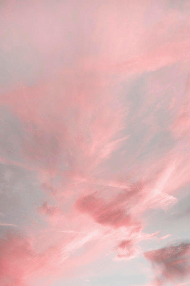 Cloud Art Print Kinderzimmer Dekor Cloud Wall Art Wolken Print Sky Print Kids Wand Kunst Cloud Decor Geschenk für Frau Pastell Pink Print Digi ...