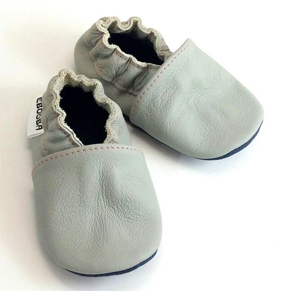 f86c5a1950765 Cat Baby Shoes, Gray Baby Slippers, Ebooba, First Birthday, Leather ...