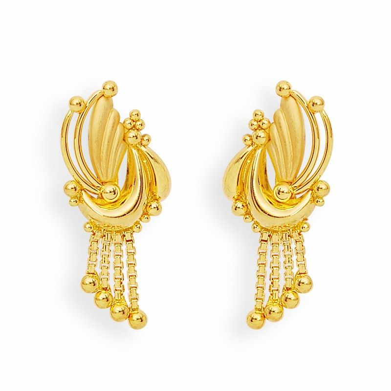 Earrings Gold Feather And Balls Earrings Grt Jewellers