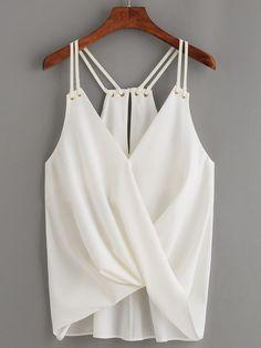 00169b87db462 Top drapé avec double bretelle - blanc