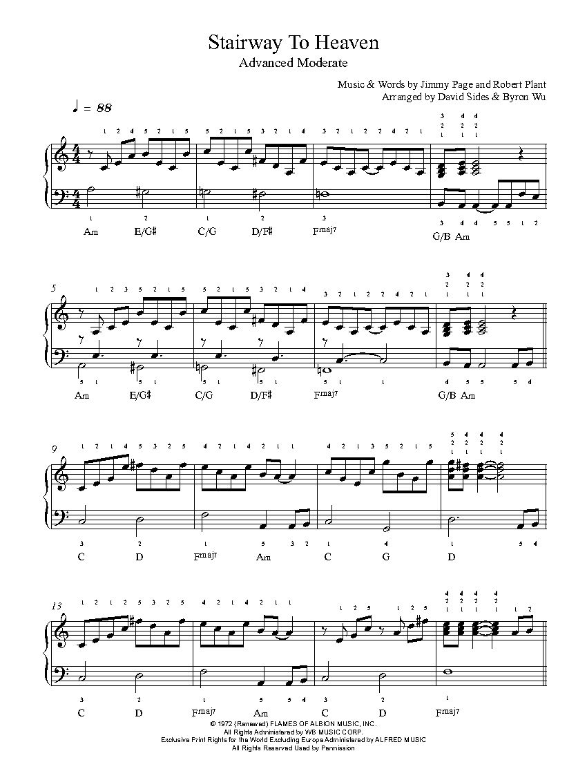 Stairway To Heaven By Led Zeppelin Piano Sheet Music Advanced