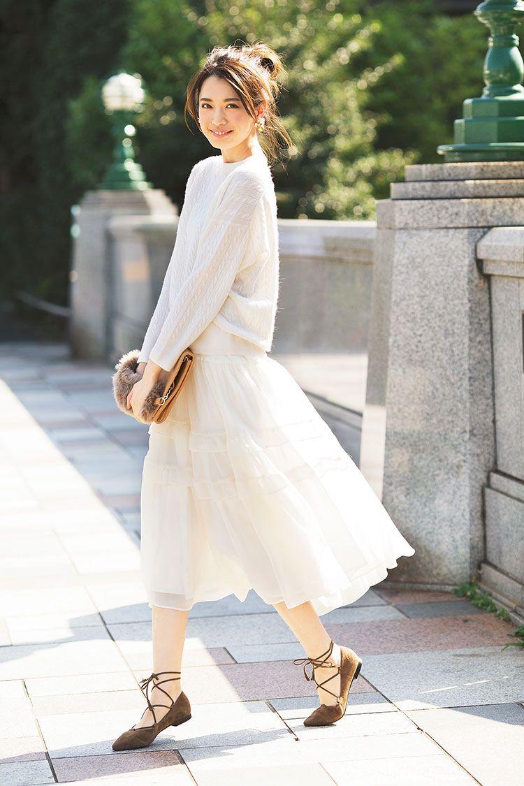 冬のガーリーには白がマスト♡おしゃれフェミニンな白×白コーデ