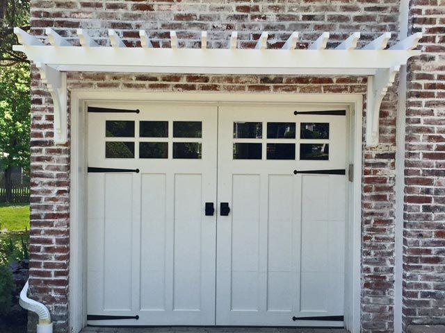 Garage Pergola Installed On Brick Garage Door Design Garage Doors Garage Door Makeover