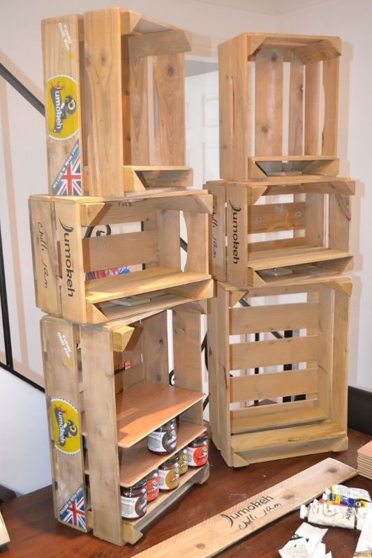Jumokeh chilli jam hand painted display crates for exhibitions