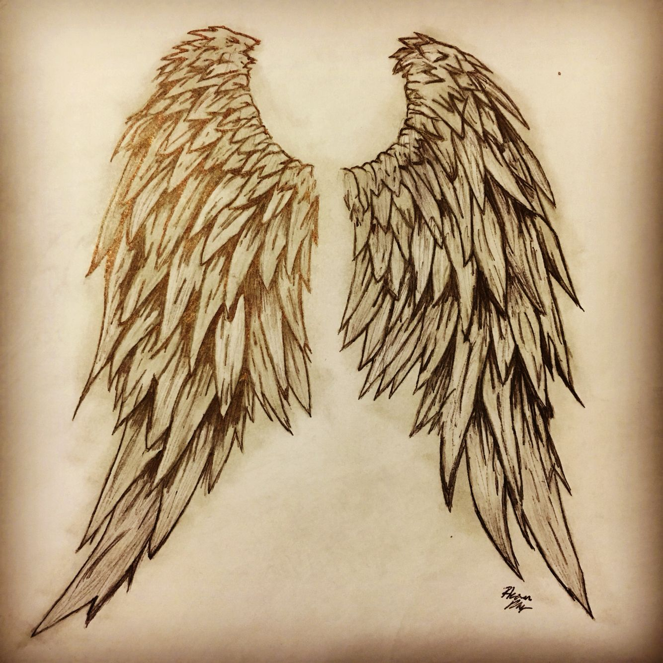 My Angle Wing Tattoo Drawing