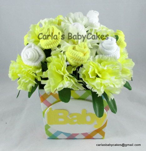 Baby sock floral arrangement yellow unique new mom gift or baby baby sock floral arrangement yellow unique new mom gift or baby shower table decoration negle Choice Image