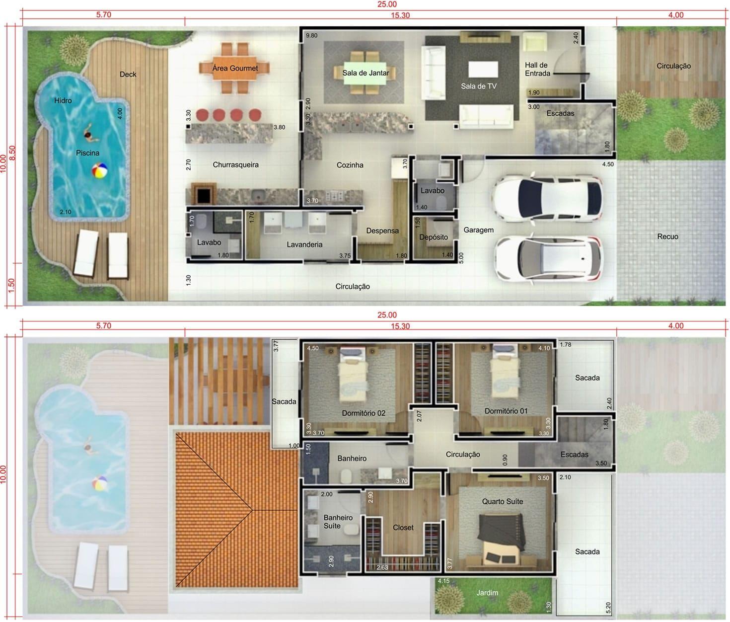 Plano de casa con piscina y terraza plano para terreno for Planos de piscinas semiolimpicas