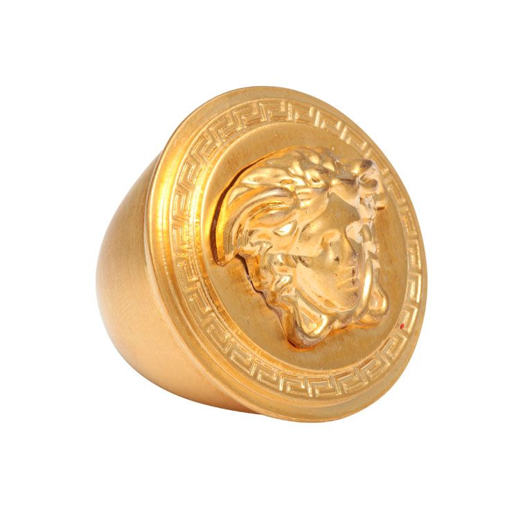 This Sleek 14 Karat Yellow Or Rose Gold Men S Ring Showcases A Medusa Head And Weighs Roximately 16 Grams The 1 7 8 Carats Of