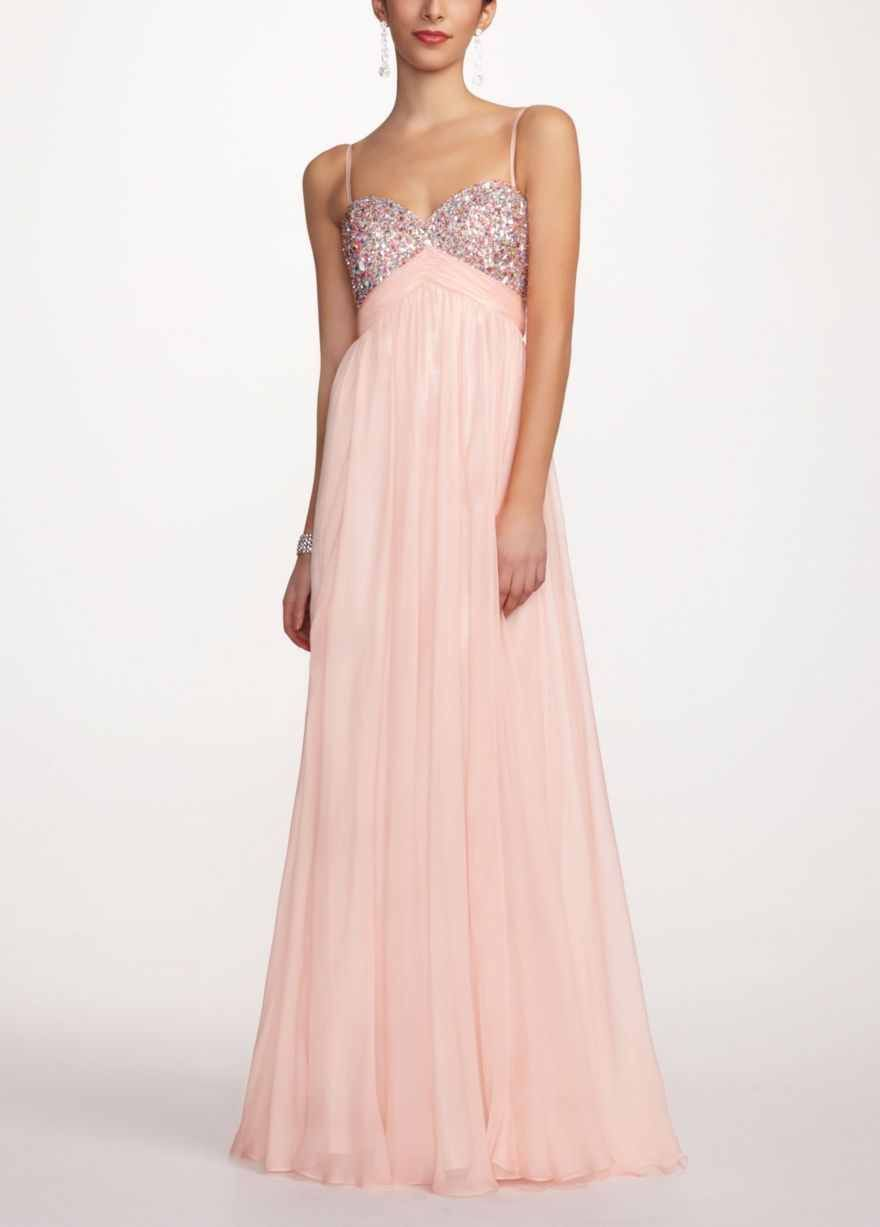 Pretty light pink prom dress with sequence quinceanera time