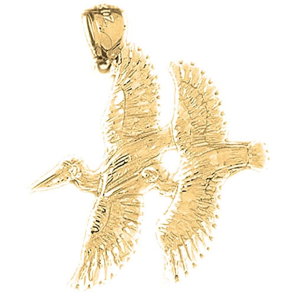 "Yellow Gold-plated 925 Silver 19mm Pelican Pendant Necklace. 30 Day Money Back Guarantee. Manufactured by JewelsObsession with the highest quality 925 sterling silver. Pendant Gram Weight: 1.7 / Avg. Chain Gram Weight: 1.9. Pendant Dimension: Length: 19 mm x Width: 19 mm. Includes Yellow Gold-plated 925 Sterling Silver 1.5mm Cable Chain 16"", 18"", 20"", 22"", 24"" & 30"" Length."