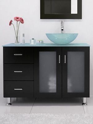 39 lune single vessel sink vanity glass vessel madera for Bajo gabinete tocador bano de madera