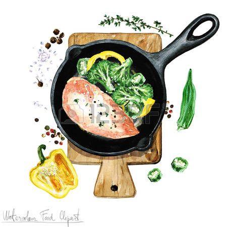Acuarela Alimentos clipart - Pechuga de pollo en una sart�n photo