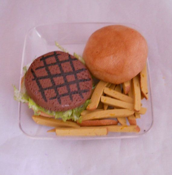 American Girl Size Hamburger and frys fake food for by chefginas, $9.99