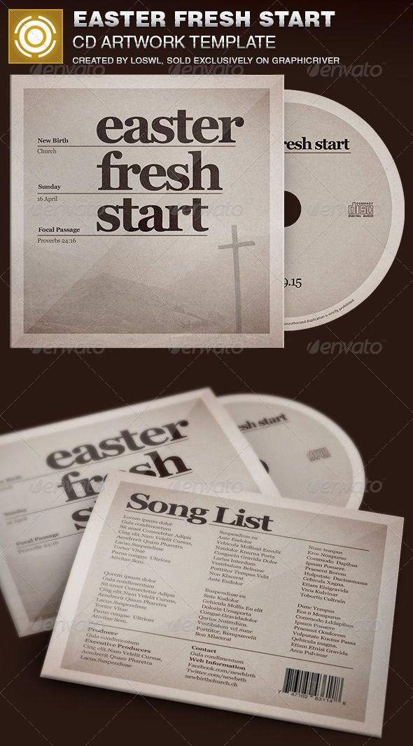 the easter fresh start cd artwork template is sold exclusively on