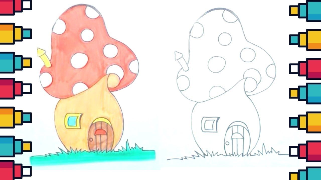 How to draw a mushroom house step by step easymushrooms house home drawings clipart cute kids