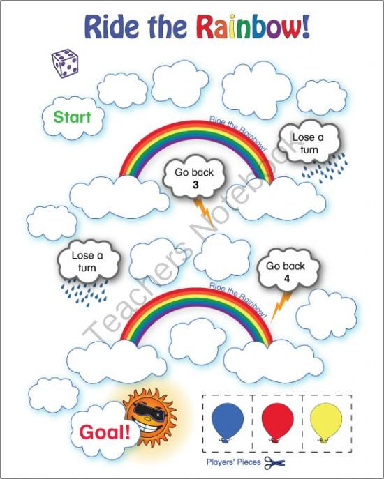 This Is An Easy Game For Even Your Youngest ESL Students Pdf File Includes Blank Color And Black White Ride The Rainbow Boards