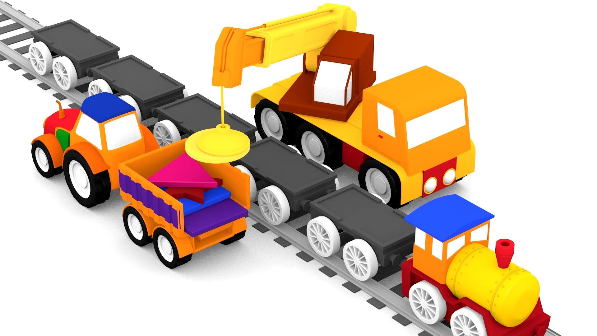 아이들을 위한 애니메이션. 4대의 자동차. 트랙터 조립과 도형들. 4 cars. Tractor and geometric shapes.
