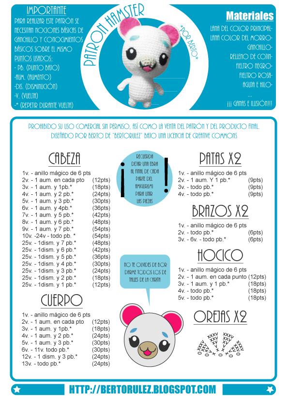 Hamster Bertoso Amigurumi - Patrón Gratis en Español aquí: http ...
