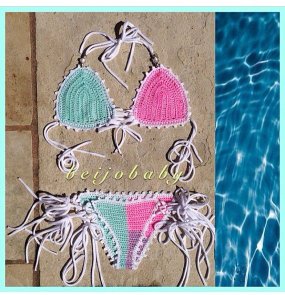 The pastel puzzle bikini by beijobaby on Etsy