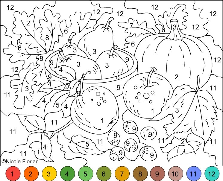 Nicoles Free Coloring Pages COLOR BY NUMBER AUTUMN COLORS