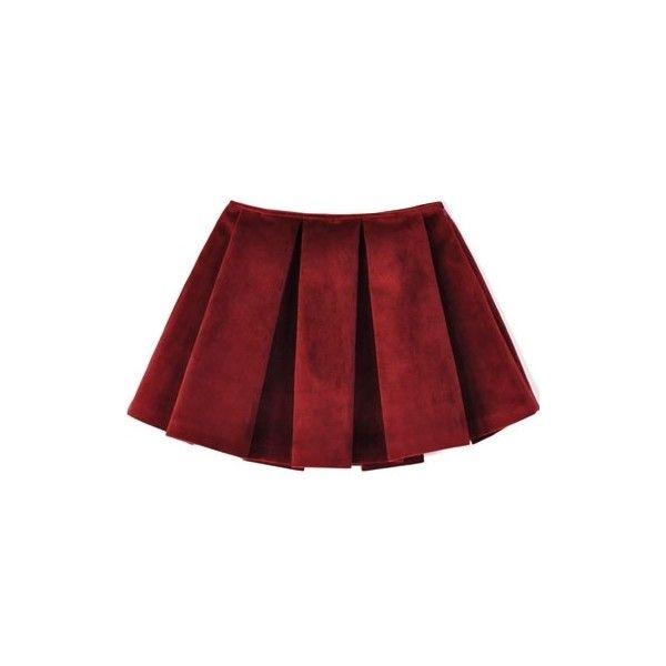 Rachel Antonoff Velvet Jim Skirt (€220) ❤ liked on Polyvore featuring skirts, bottoms, saias, red, women, red skirt, box pleat skirt, red velvet skirt, rachel antonoff and velvet skirt