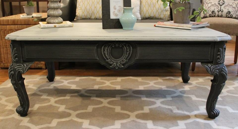 French Provincial Coffee Table Chalk Painted