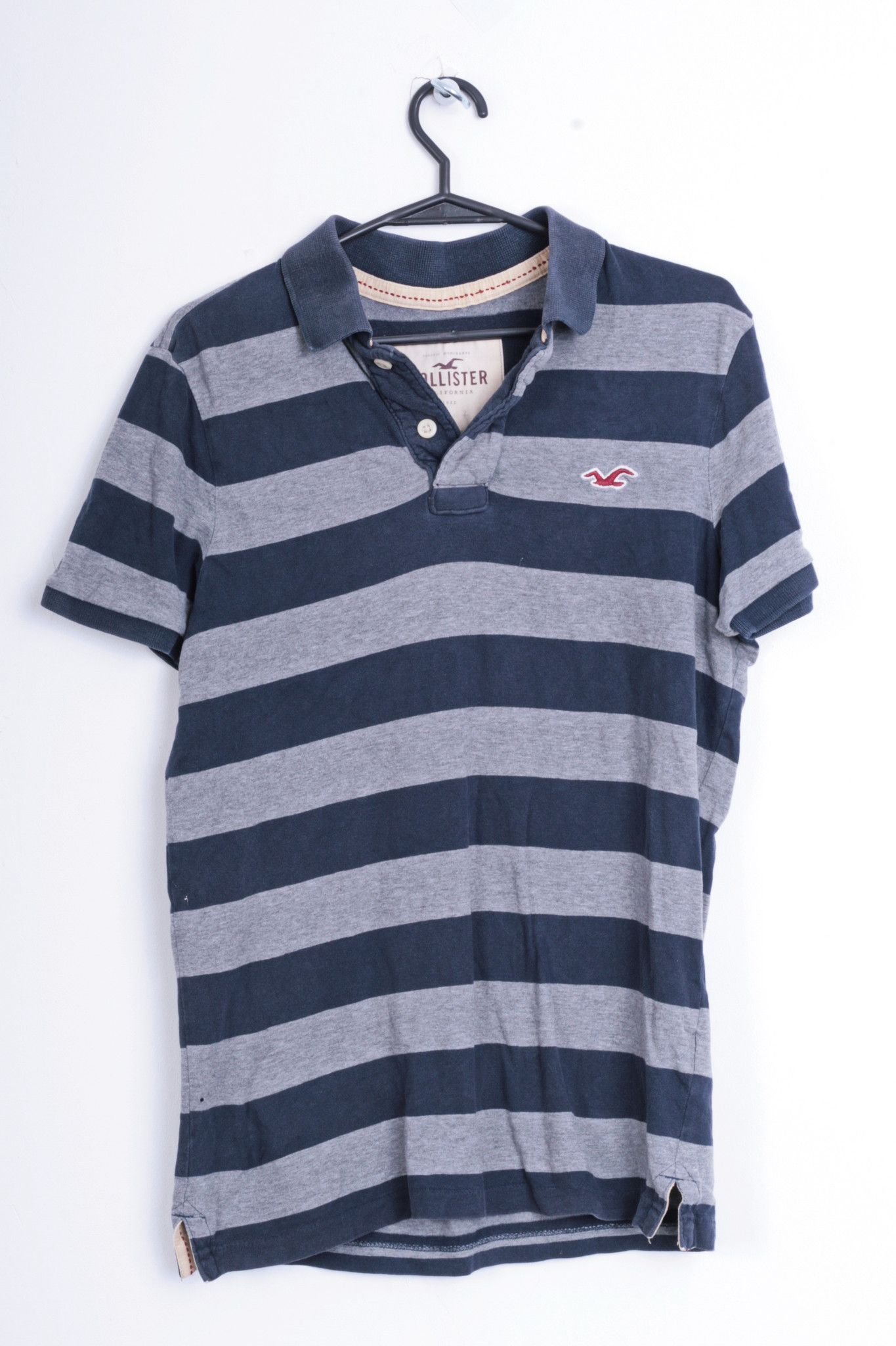 Hollister California Mens S Polo Shirt Striped Cotton Grey Navy ...