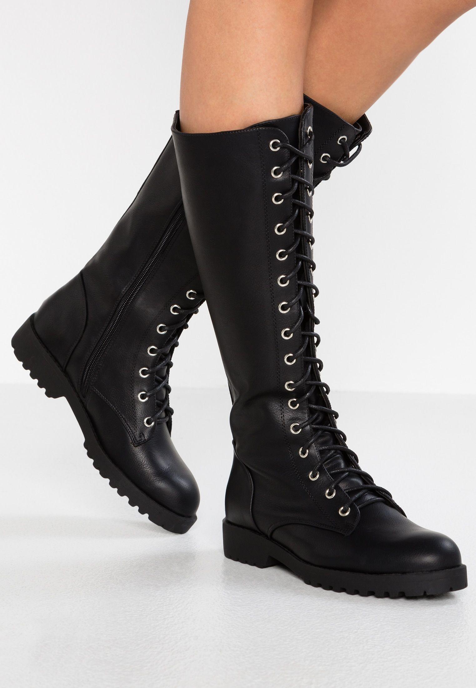 New Look Bravo Kozaki Sznurowane Black Zalando Pl Boots Black Boots Block Heel Shoes