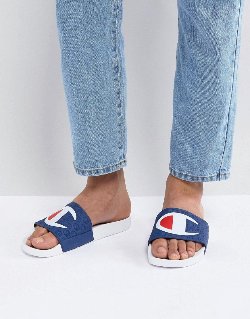 2ab6d9283185 CHAMPION SLIDERS WITH LARGE LOGO - WHITE.  champion  shoes ...