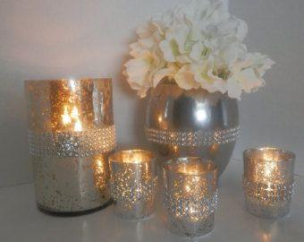 Wedding Centerpiece Bling With Round Mirror Decoration Rhinestone Vase Candleholder And Flower