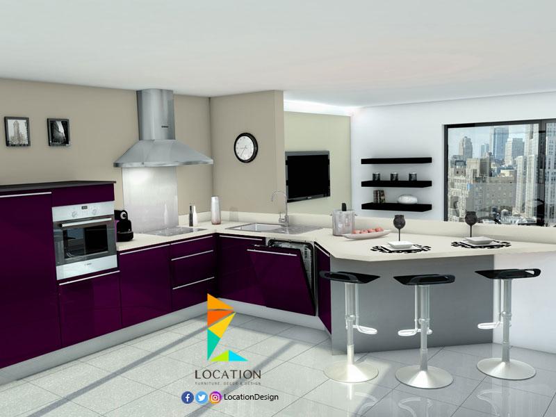 كولكشن مطابخ مفتوحه على الصاله للشقق الحديثة لوكشين ديزين نت Kitchen Kitchen Cabinets Ceiling Design