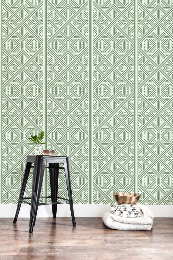 Peel And Stick Tile Wallpaper Green Geometric Tile Self Adhesive Wallpaper Removable Wallpaper Accent Wall Contact Paper Wall Decor 16 Stick On Tiles Peel And Stick Tile Paper Wall Decor