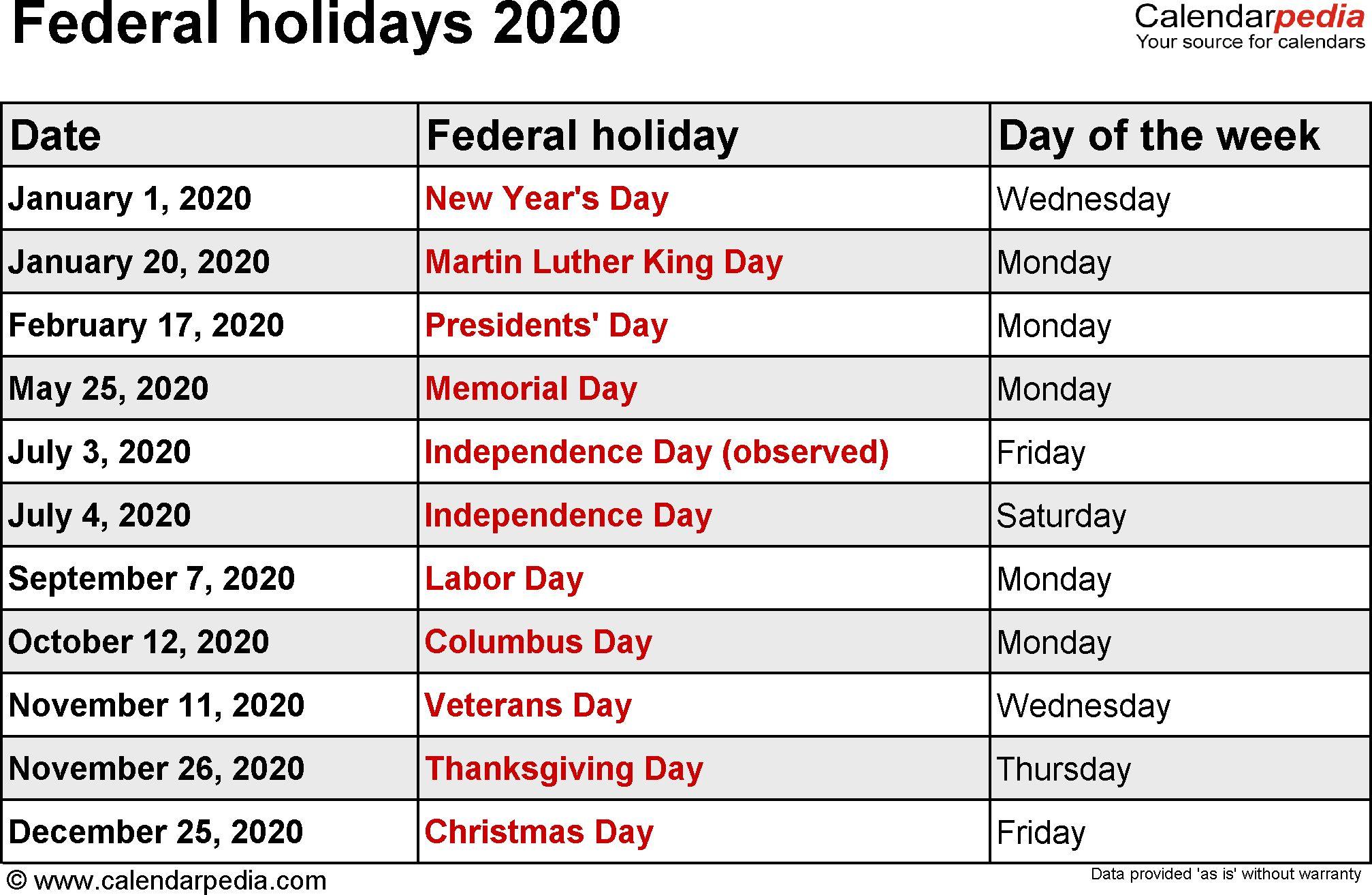 Federal Holidays 2020 Di 2020