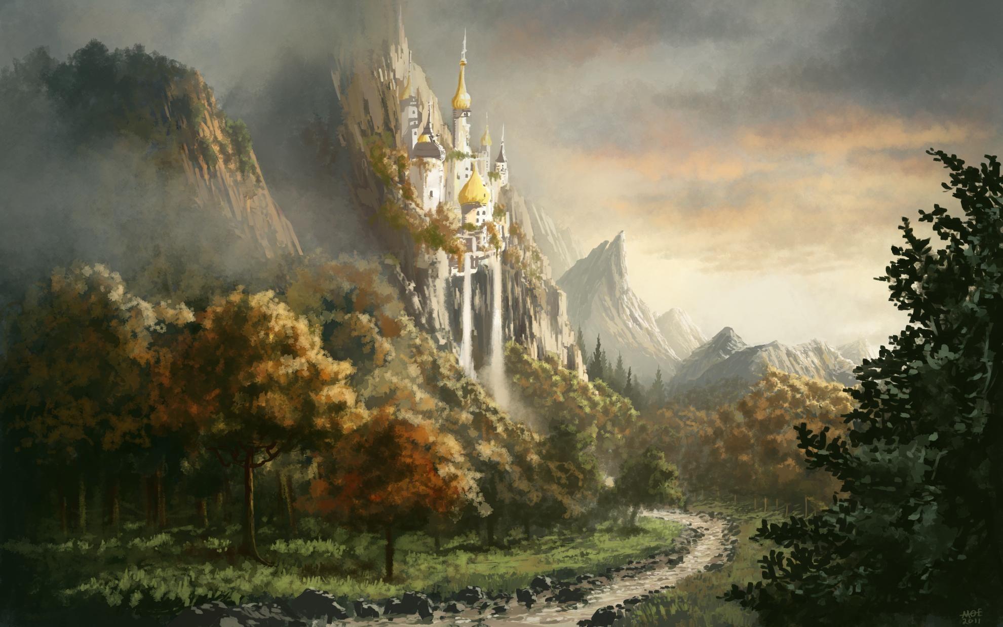 landscapes castles fantasy art - photo #16