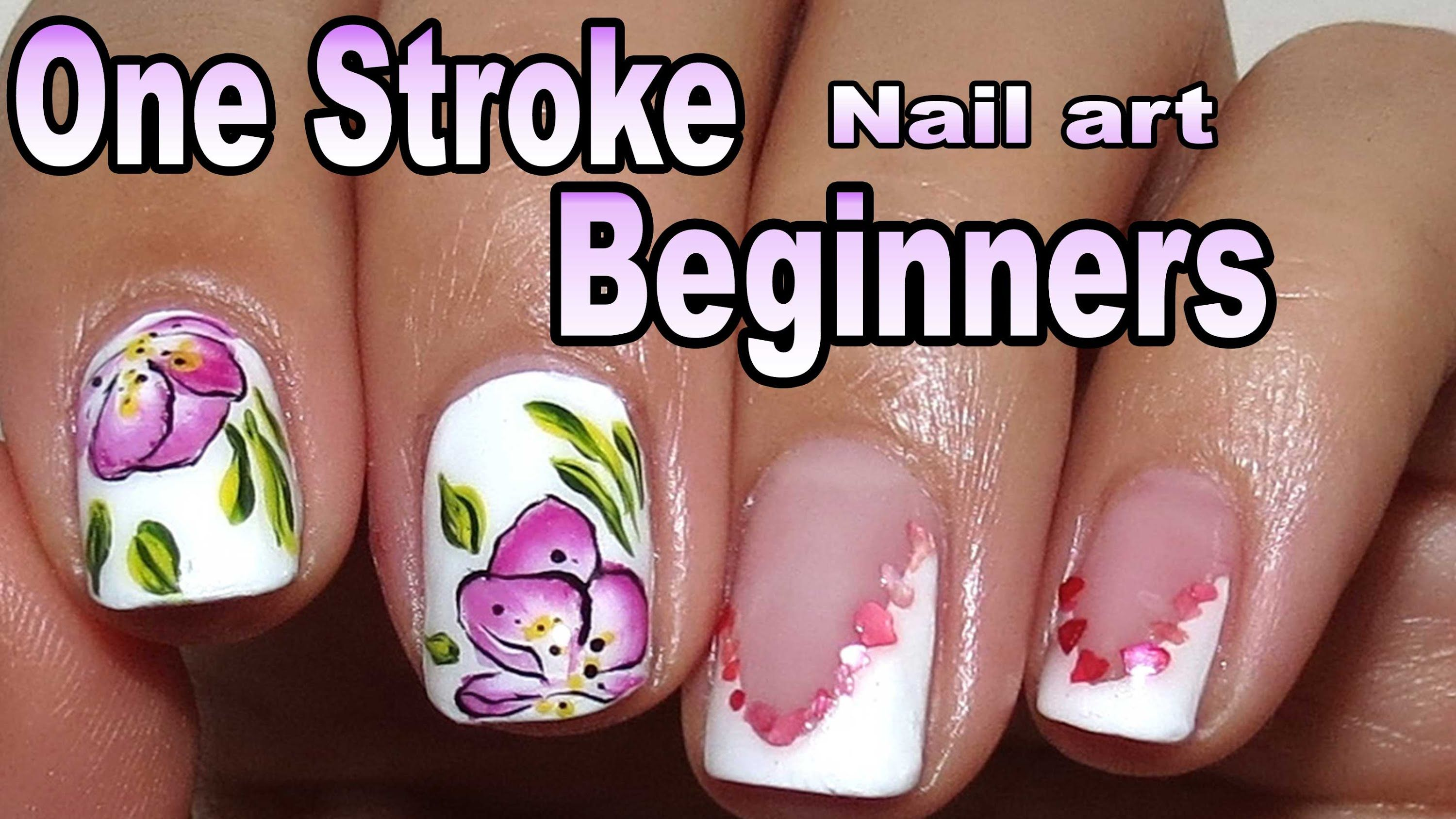 Simple One Stroke Nail Art Painting For Beginners And Short Nails ...