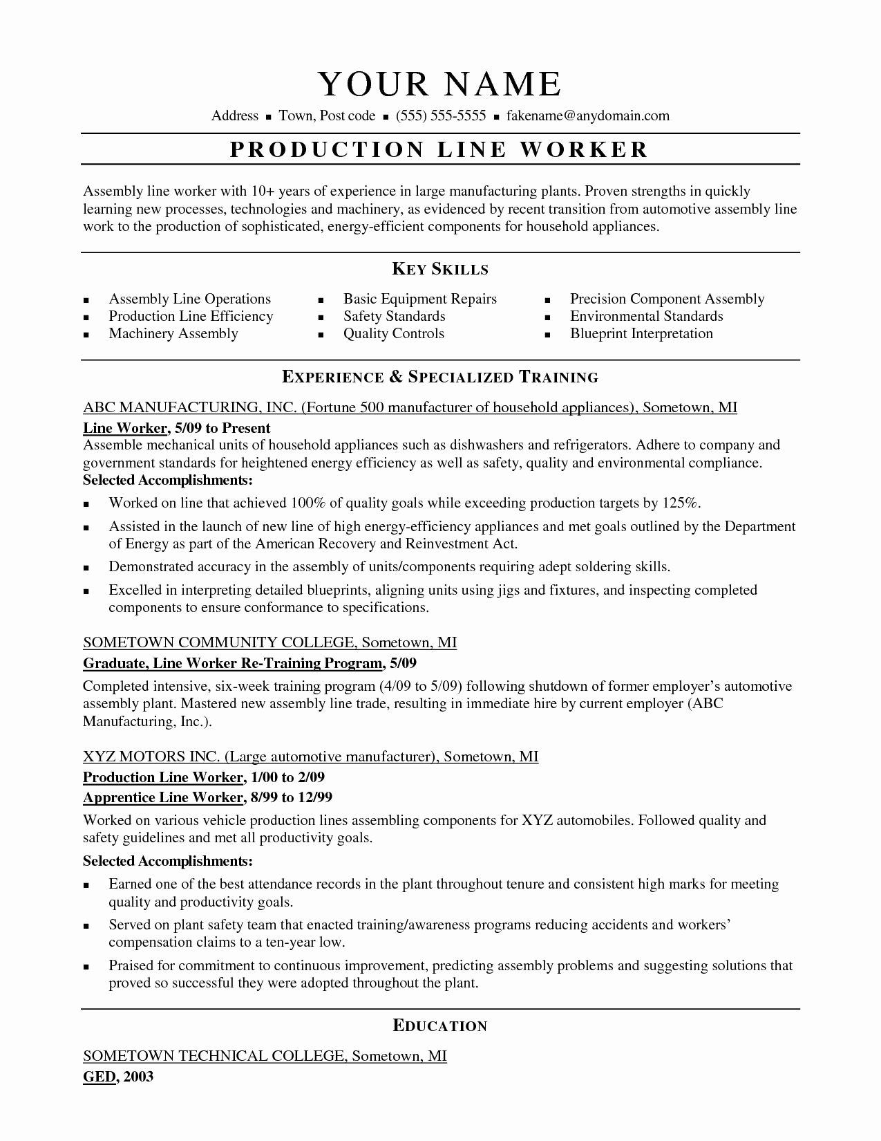 20 Assembly Line Worker Resume Colimatrespuntocero Com In 2021 Line Worker Resume Examples Resume Sample