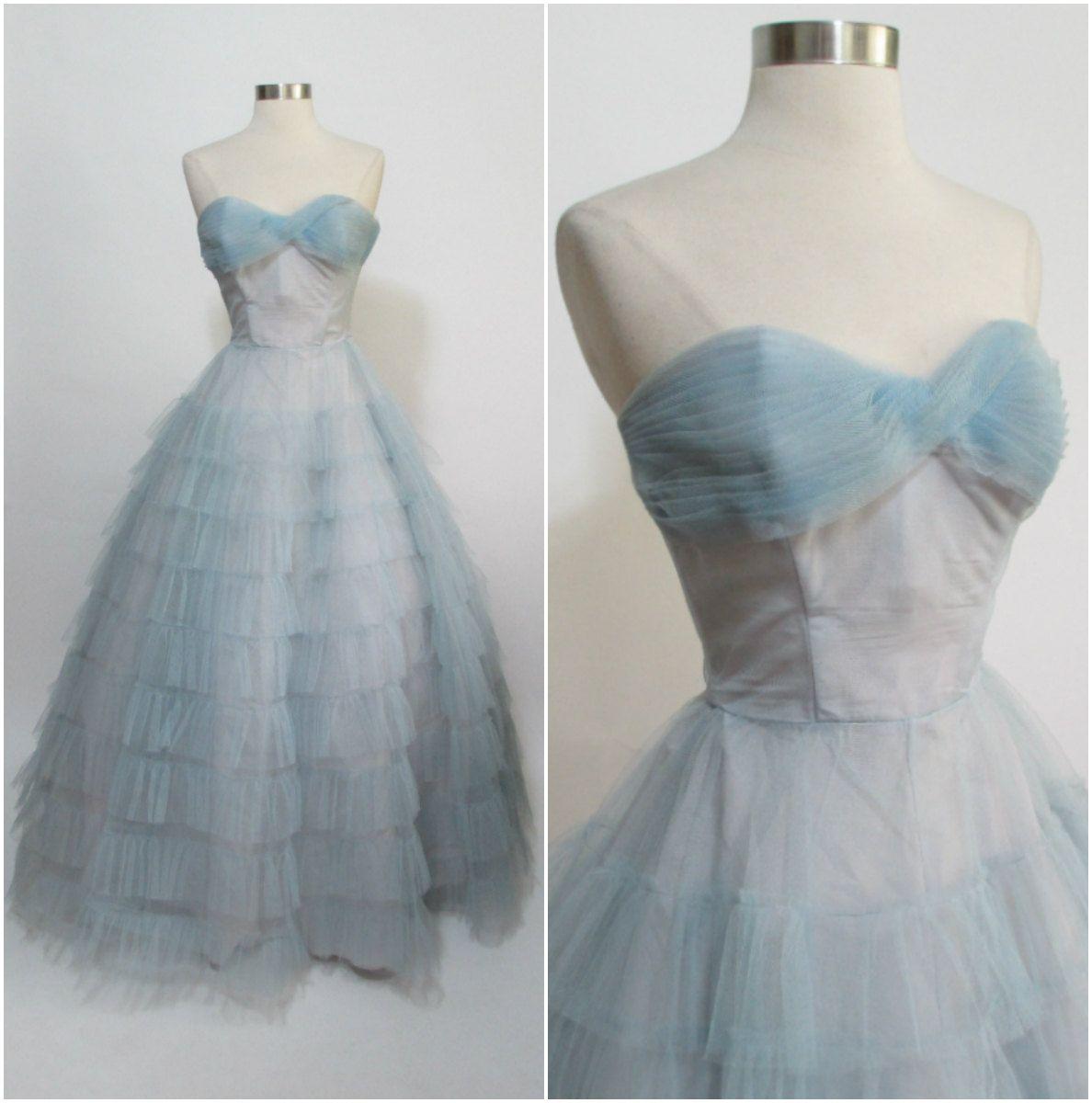 1950s Vintage Powder Blue Floor Length Layered Tulle Prom Dress Xs 24 Waist Vintage Style Dresses Layered Tulle Prom Dress Vintage Dresses [ 1200 x 1188 Pixel ]