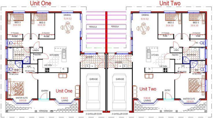 Single Story Duplex With Garage Duplex And Townhouse Designs Instant Download Sale Duplex Townhouse Duplex Floor Plans Duplex Design Duplex House Plans