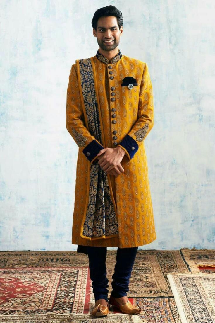 Royal yellow classical zardosi sherwanito order this whatsapp us on
