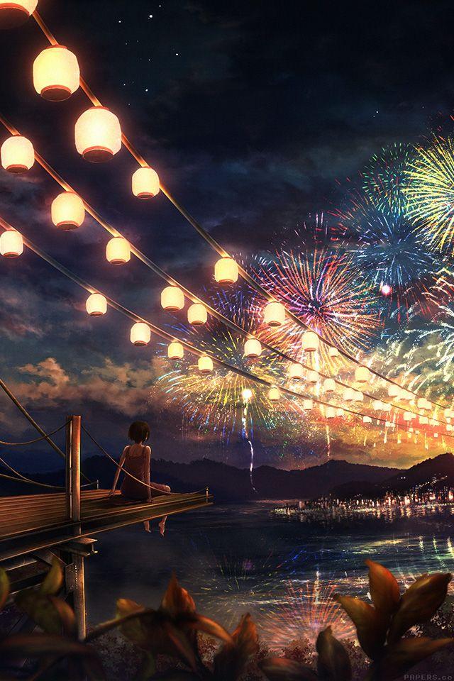Pin On Wallpaper Fireworks anime hd wallpaper