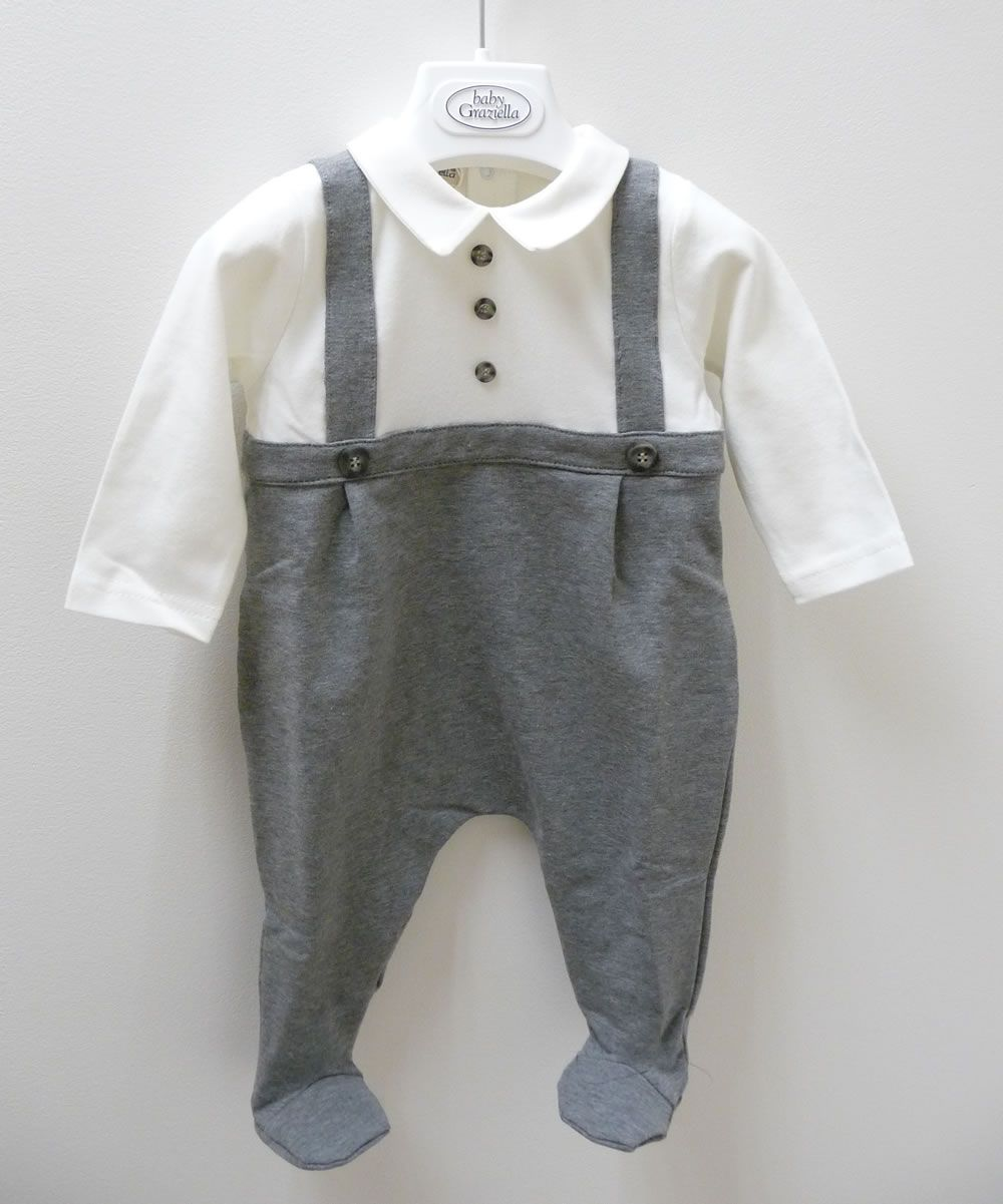 12536a30b Baby Graziella Baby Boys Dungaree Style All in One | Baptism | Baby ...