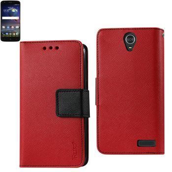 Reiko ZTE Grand X3 Wallet Case 3 In 1 Red With Interior Leather Like Material And Polymer Cover